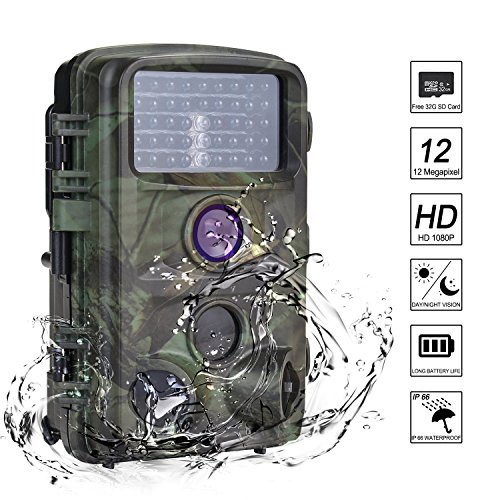 """Nicam Trail Camera 1080P Hunting Game Camera 12MP With with Infrared Night Vision Free 32G SD Card 2.4""""TFT LCD Screen,120°PIR,45pcs IR LEDs IP66 Waterproof"""