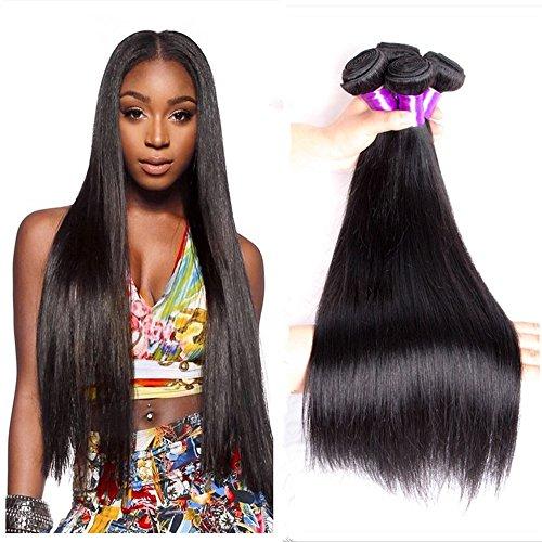 Jisheng Cheveux humains non traités brésiliens raides de couleur naturelle Qualité 8A Cheveux raides 4 mèches de 400g chacune (14 14 16 16)
