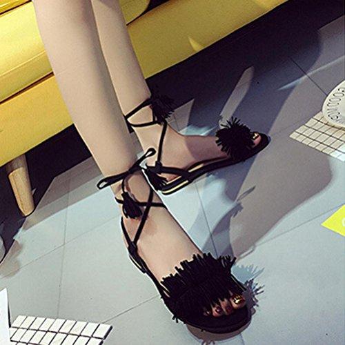 Ouneed®Femme Ouverte Bout Gladiator Sandale Plate Lacet au Cheville Noir