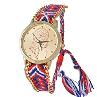 Souarts Gold Plated Color Dream Catcher Round Dial Adjustable Weave Bracelet Wrist Watch Red