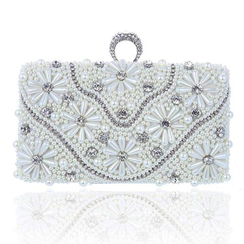 Damara® Pearl Rhinestone Ring Ladies Lussuosa Borsa Da Sera Bianca