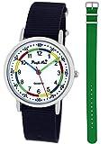 Pacific Time First Kinder-Armbanduhr Lernuhr Jungen Mädchen 2 Schnellwechsel Textilarmbänder Analog Quarz Blau grün 10007
