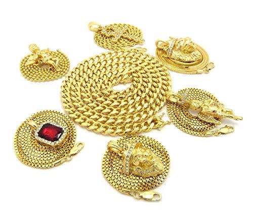 Colliers à pendentifs Hip Hop et chaîne Miami Cuban l.8 mm L.76 cm 1858 Ton or