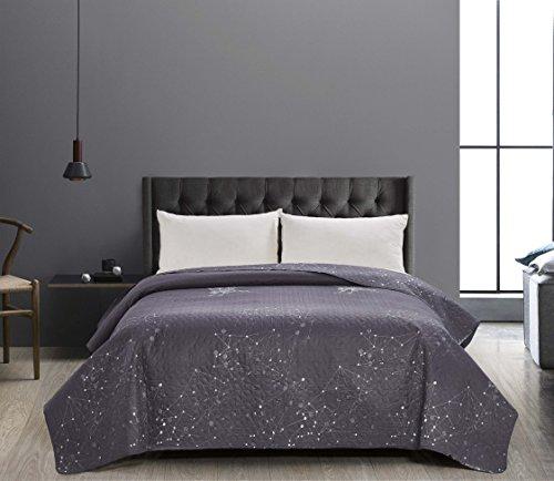 DecoKing 41017 Tagesdecke 220x240 cm Graphit weiß Bettüberwurf zweiseitig Steppung pflegeleicht...