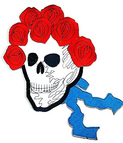 Größe Totenkopf und Rosen Haar Tattoo Lady Rider Biker Jacket T Shirt Patch Sew Iron on gesticktes Badge Schild (Biker Tattoos Kostüm)