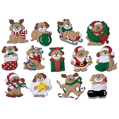 Design Works - Decorazioni natalizie in feltro, motivo: cani