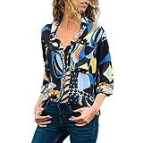 ESAILQ Frau V-Ausschnitt Blumendruck Button Down Long Sleeve T-Shirts LäSsige Blusen Tops(Medium,Blau)