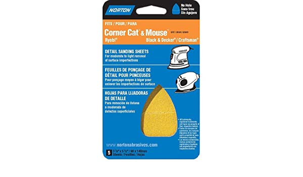 Norton 07660702705 Iron Shape Sanding Sheet for Corner Cat//Mouse Sander P180 Grit 5-1//2 Length x 3-7//8 Width Pack of 5 Fine Grade Hook and Loop