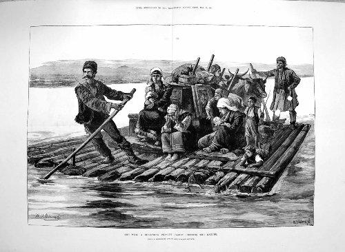 Rivière Rurale Bulgare Danube de Croisement de Famille de 1877 Guerres [Cuisine et Maison] par original old antique victorian print