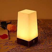 lederTEK Lámpara de Mesa Cuadrada con Sensor de Movimiento de LED con Base de Cobre(Blanco Cálido)