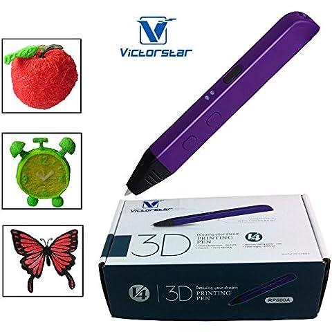 VICTORSTAR @3D Impresión de la pluma -RP600A Portable - Amarillo/ La versión 4 Generación Hace 4 Las mejoras más grande y mejor para Operaciones Dibujo 3D y garabatos / Los filamentos ABS pluma 3D + Adaptador de corriente + Manul+ plástico destornillador /Regalo increíble para los niños (púrpura)