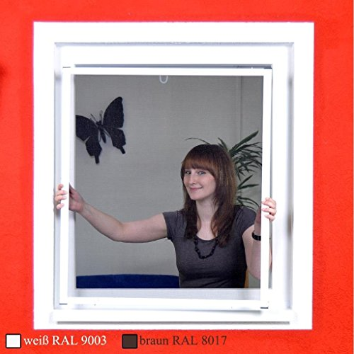 Premium Slim Fliegengitter für Fenster als Alubausatz mit Fiberglasgewebe - Profi Insektenschutz - 100 cm x 120 cm | weißer Rahmen