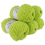 maDDma  500g Kuschelwolle Marion m. Highlights, Plüsch-Wolle Strickgarn Paket - Farbwahl, Farbe:hellgrün