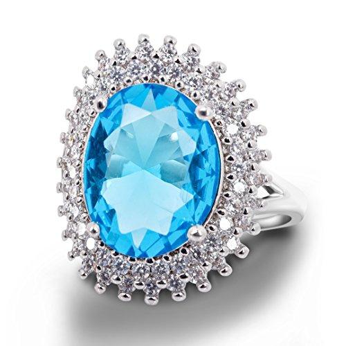 Zirkonia Hochzeit Engagement für Frauen Blue Halo Ring CZ Band Kupfer Ringe (Blue Halo Ringe)