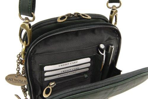 Catwalk Collection Handbags, Borse tascapane, Donna Verde Scuro