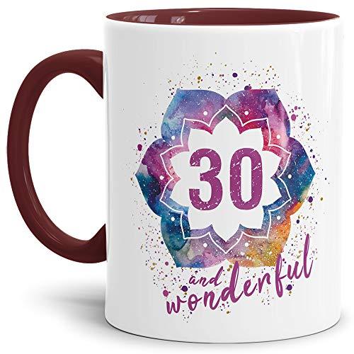 Tassendruck Geburtstags-Tasse 30 and Wonderful Geburtstags-Geschenk zum 30. Geburtstag als Geschenkidee für die Frau/Abstrakt/Bunt/Kaffeetasse/Innen & Henkel Weinrot