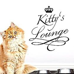 Grandora® W5171 Wandtattoo Lounge mit Krone + Wunschname für Haustiere grasgrün