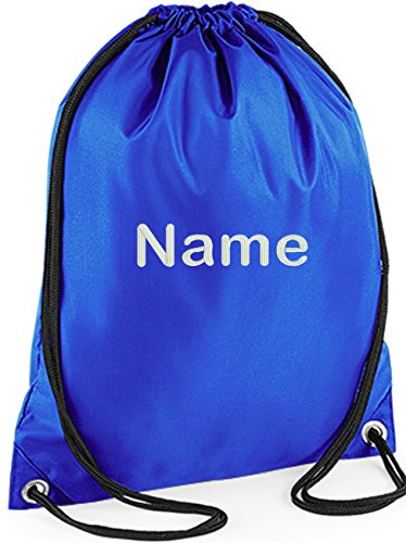 EMBROIDERED Personalised Drawstring GYM Bag Any Name Gym ,School Nursery Swim ,PE, Dance Kit (ROYAL)