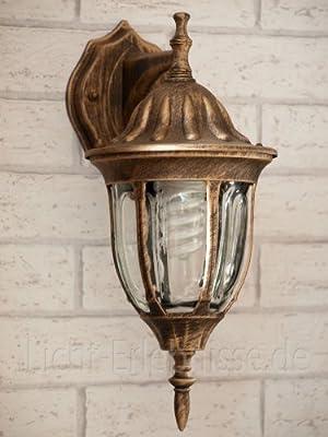 Edle Wand-Außenleuchte hängend in antik-gold Hoflampe Außenlampe Wandbeleuchtung 8371