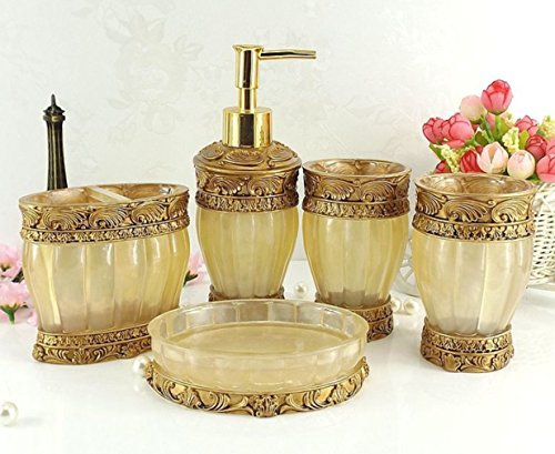 HONGS kontinental Luxus 5tlg BAD-WC Garnitur Badezimmer Set Bürste Becher Seifenspender Badgarnitur ,Gelb