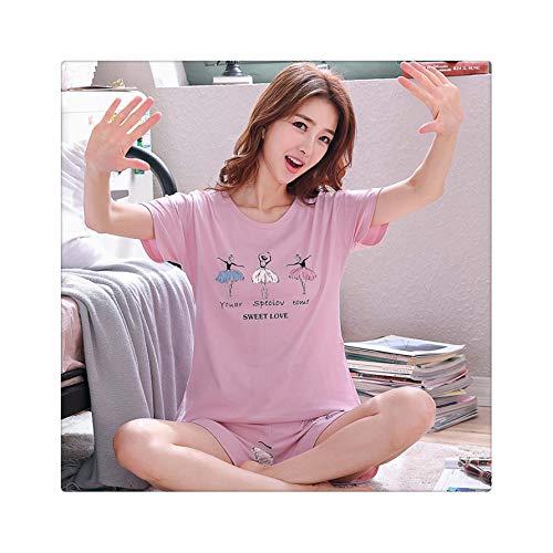 QSAWAL& 2019 Summer Women Cotton Cute Pajama Set Girl Print Pyjama Set Short Sleeve Sleepwear Suit Women Nightshirt Sets Outwear X Q 8231 nv hai L