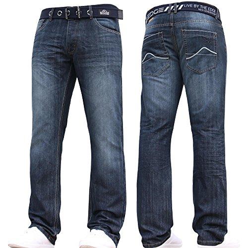 Stone Edge Mens Designer Straight Regular Denim Jeans Pants All Waist Leg Sizes Dark Wash 34W X 32L