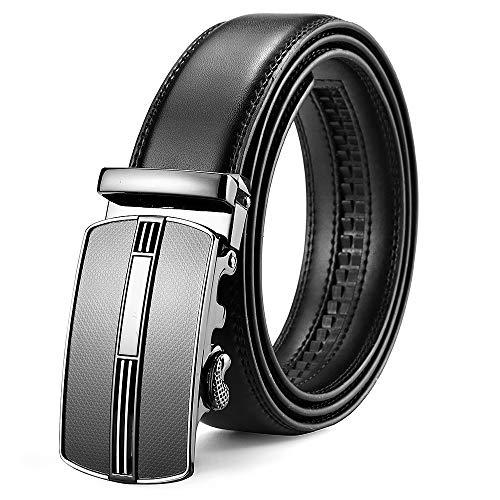 XIANGUO Gürtel Herren Bedruckte Ledergürtel für Männer mit Automatik Gürtel Reversible Leder Breiter Gürtel Automatik Schnalle, Small(115CM), schwarz - Reversible Schwarz Leder