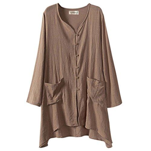 Camicia lunga da donna Gordon Q, in lino, chiusura con bottoni, taglia grande Marrone