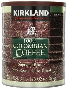 Kirkland Signature - 100% Colombian Filter Coffee Supremo Bean Dark Roast Fine Grind 1.36kg by Kirkland Signature