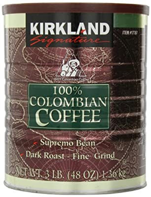 Kirkland Signature - 100% Colombian Filter Coffee Supremo Bean Dark Roast Fine Grind 1.36kg by Kirkland Signature