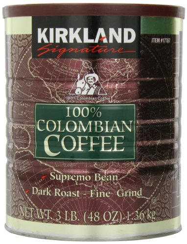 Kirkland Signature - 100% Colombian Filter Coffee Supremo Bean Dark Roast Fine Grind 1.36kg