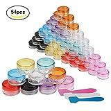 Contenitori cosmetici,Zoombuy 54 Pz Vasetti contenitori di plastica da 5 grammi Contenitore vuoto campione per salse,creme,accessori per unghie