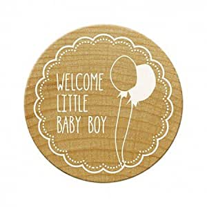 Woodies Bienvenue Little Baby Boy, tampon, bois, marron, 30 mm