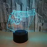 QingMuMu Veilleuse Pistolet lumière de Nuit 3D Cadeau créatif télécommande télécommande Tactile lumières colorées 3D LED Lampe de Table à Domicile...