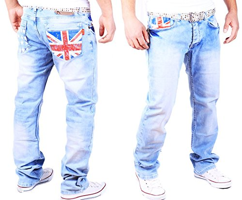 HERREN JEANS HOSE STRAIGHT CUT FIT STRETCH DESTROYED 3140 England