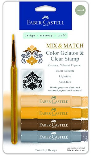 Faber-Castell Mix & Match Gelatos Stick W/Clear Stamp 4/Pkg Neutral by Faber-Castell