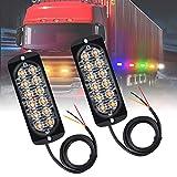 Justech 2 x 12 LED Luci Ambra Arancione Anteriore Ripartizione Beacon Light bar 12V 24V Universale per Auto Camion Rimorchio Trattore