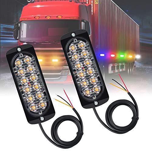Justech 2 x Feux Stroboscopique 12 LED Lampe Flash Stroboscope LED Voiture 12V Feux Pénétrations Avant Voyant d'Alarme Urgence Strobe Ambre Orange pour Voiture Camion Remorque Caravane