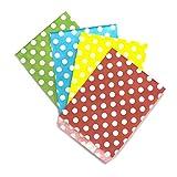 Frau WUNDERVoll® Candy Bags, 100 Papiertueten 13 x 16,5 cm, Design Mix aus 4 Designs zu je 25 Stueck: Set 8, Gruen Punkte, beachblau Punkte, gelb Punkte, rot Punkte