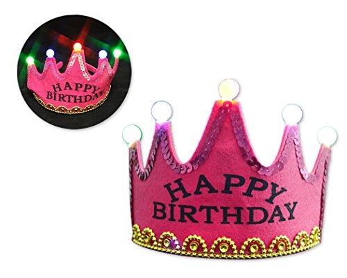 Shopready Alles Gute zum Geburtstag Hut LED leuchtet Party Hut Crown Stirnband für Kinder - Rosa