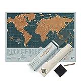 Luckies of London Weltkarte zum Rubbeln Backpacker Edition - personalisierte Weltreisen-Karte - Scratch Off Map - bunte Scratch Poster - extrem haltbar - perfektes Geschenk für Reisende - blau