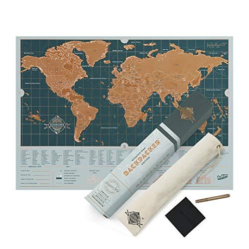 (Luckies of London Weltkarte zum Rubbeln Backpacker Edition - personalisierte Weltreisen-Karte - Scratch Off Map - bunte Scratch Poster - extrem haltbar - perfektes Geschenk für Reisende - blau)