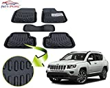 #6: Auto Pearl - Premium Quality Car 4D Croc Textured Black Mats For - Jeep Compass - Set of 5Pcs