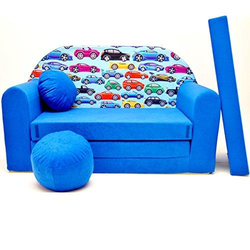 Kinder Sofa Couch Baby Schlafsofa Kinderzimmer Bett gemütlich verschidene Farben und motiven (C21 blau Cars)