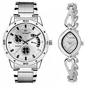 ADAMO Designer Analog Silver Dial Unisex Watch - 109-327SM01
