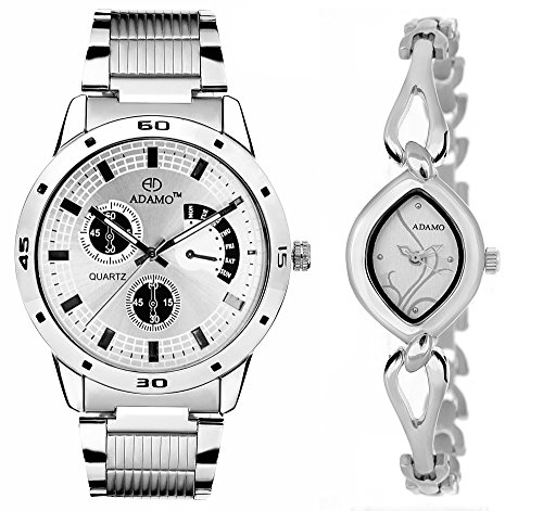 Adamo Analogue Silver, White Dial Men's & Women's Couple Watch (109-327Sm01)