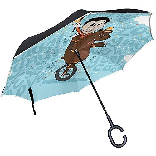 Gelegentlicher Spaß-Jungen-Bärn-Einrad-Umgekehrter Regenschirm-Auto-Geöffneter Doppelter Schicht-Winddichter Uvschutz-Umgedrehter Regenschirm Für Auto-Regen