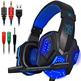 Gaming Headset con microfono e LED per computer portatile, cellulare, PS4 e nuova Xbox One, DLAND 3.5mm cablata a rumore isolamento Gaming Headphones - Controllo del volume (nero e blu)