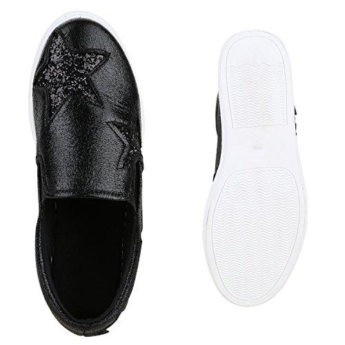 Damen Sneakers Slip-ons Lack Glitzer Metallic Slipper Schuhe Schwarz Stern