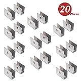 NUZAMAS, set di 20 staffe per mensole in vetro - 201, in acciaio inox 201, con morsetto di serraggio rotondo regolabile da 8 a 12 mm di spessore, dimensioni 26,5 x 36,5 x 16,5 mm